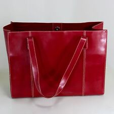 Red Hard Leather Shoulder Bag Large Purse Briefcase Computer Books Shopping