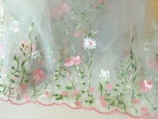 "53"" Wide Lace Organza  Fabric with Embroidery Flowers and Scalloped Edge"