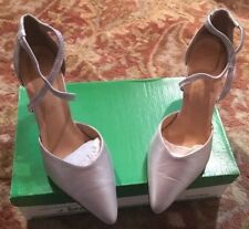 Stephanie Of London Spain 7.5B Silver heels pumps shoes Sandals (b33)