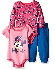 Disney Baby Girls' 3-Piece 2 Minnie Mouse Bodysuits with Pant Set 6/9