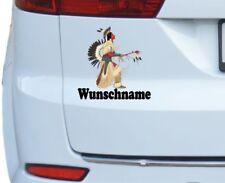 Autoaufkleber Indianer mit Wunschname Amerika Ureinwohner Feder Autotattoo