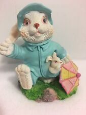 Ceramic Easter Bunny or Spring Figurine w/ Rain Jacket Umbrella and Baby Bunny