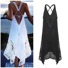 Women Summer Spaghetti Strap Lace Crochet Backless Beach Party Sun Dress B