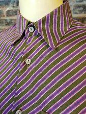 Bugatchi Uomo LS Button Up Shirt Green Purple Pink Striped Mens L