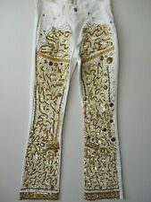 LEVI'S WHITE & GOLD EMBELLISHED JEANS SIZE 8 LONG - NEW