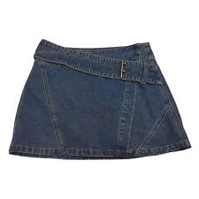 Just Jeans Womens Skirt Size 6 Blue Distressed Denim Wrap Buckle Mini