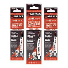 Abracs Demolition Wood/Metal Reciprocating Saw Blades 225mm x 22mm 1.6mm 1 x 3PK