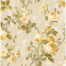 Wallpaper Designer Yellow Cream Rose Floral Vine on Beige Faux