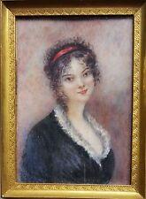 (B043) Miniatur Portrait einer jungen Frau, Gouache Malerei, um 1900