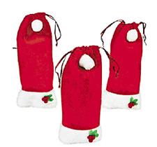 Set of 12 Santa Hat Gift Bags ~ Fleece and Fluff ~ Christmas