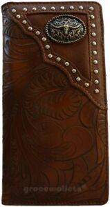 LongHorn Mens Wallet Western Bifold Checkbook Style W030-14 Ostrich Brwon
