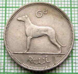 IRELAND 1964 6 PINGIN PENCE SIXPENCE, IRISH WOLFHOUND DOG