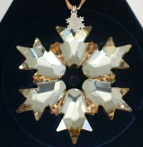 Swarovski Scs Star Christmas Ornament 2018 Large Gold 5376665 New