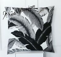 Tommy Bahama Indoor/Outdoor 45cm Black & Grey Palm Leaf Cushion/Pillow Cover