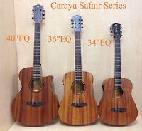 "Caraya 34"" All Mahogany Traveler Acoustic Guitar w/Built-in EQ,Tuner+Free Bag"
