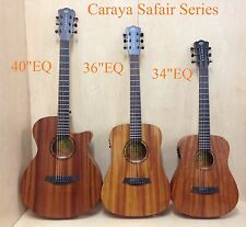 "Caraya 40"" All Mahogany Thin-body Acoustic Guitar,Cutaway w/Built-in EQ+Free Bag"