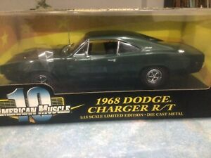 DODGE CHARGER 1:18 R/T 1968 ERTL AMERICAN MUSCLE EMERALD GREEN #36573 RARE