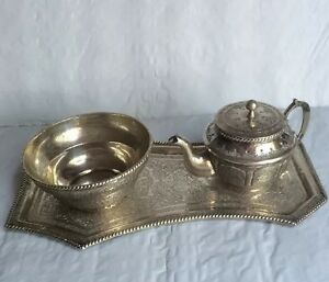 Antique Russian/Persian Silver 84 Ornate Cream, Sugar, Tray 3 Piece Set 396grams