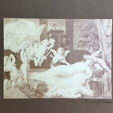 Antique Victorian Franz Lefler Sepia Lithograph Marriage Wedding Dream