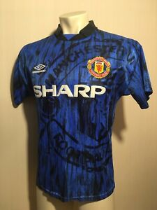 MANCHESTER UNITED 1992 1993 FOOTBALL ENGLAND BLUE REDS SHIRT JERSEY UMBRO Size S