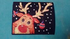 Christmas Winter Reindeer 2.75 x 3.5 Inch Iron On Patch