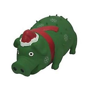 """Multipet Holiday Christmas Latex Goblet Pig 8"""" Piggy Dog Toy With Grunt GREEN"""