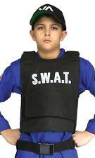 Boys Girls Child's Kids Police Black SWAT Vest Fancy Dress Party Costume Outfit
