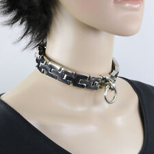 Schwere Halskette Halseisen Halsfessel Halskette der O m.Schloß Größe XL