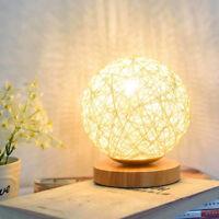 Best Wooden Rattan Table Lamp USB Desk Bedside Night Light Lamp Ball Home Decor