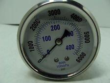 "PRO-202L-254S PRO 2.5"" Glycerin Filled SS Gauge 1/4"" NPT Back Mount 0/6000 psi"