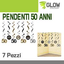 7 FESTONI PENDENTI 50ANNI party festa decorazioni festoni addobbi spirali 30637