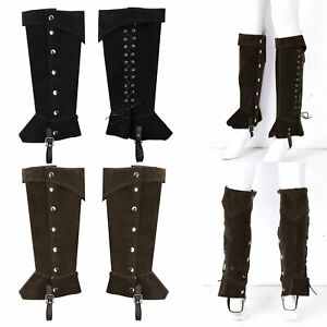 Unisex Renaissance Medieval Boots Frosted Leather Knee High Buttons Shoes Covers