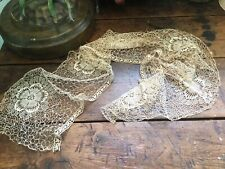 Lovely Antique Vintage Fine Lace Scarf Table Runner Vanity Scarf Floral Ecru