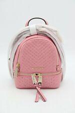 NWT MICHAEL Michael Kors Rhea Mini Gold Studded Pink Leather Backpack Bag New