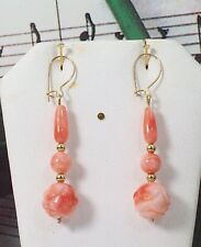 Carved Coral With 14K Gold Filled Earrings. Natural Pacific Coral. NDCE0015