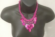 VINTAGE PINK DREAM NECKLACE BEADED ROCK STONE GIRLS LADIES PROM DRESS BLING NICE