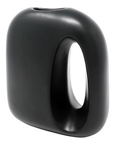 "Umbra Black Ceramic Vase Matte Glaze Contemporary Urban Modern  9""H x 7""W EUC"