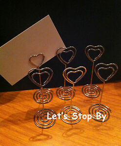 12 Silver Heart Wedding Party Event Name Table Card Holder Stand Clips Favor