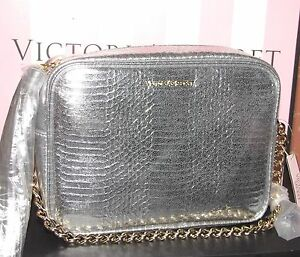 New VICTORIA's SECRET croc Silver Crossbody Evening Bag w/ Tassel & gold chain