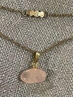 """Antique Pink Quartz Pendant Necklace Gold Tone 17"""""""