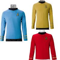 Star Trek TOS Cosplay Captain Kirk Shirt Yellow Spock Blue Uniform Costume Red