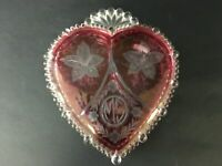 Pink Vintage Glass Heart Shaped Trinket/Jewelry Box - 3336