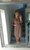 WOMENS BROWNY VTG RETRO BUTTON UP BOLD ABSTRACT 90'S FLOWY TEA DRESS UK M
