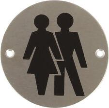 Bathroom Graphic Toilet Sign -Unisex- Satin Stainless Steel 987.15.500 (Hafele)