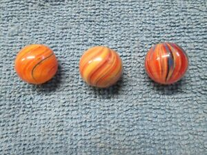 Three Vintage Hand-Made Onionskin Marbles - Assorted Designs - All About 0.65""