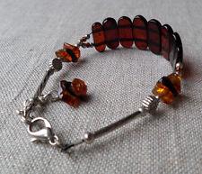 6,7-7,5inch Vintage Elegant Genuine Baltic Amber Cognac Bracelet Tibet Silver