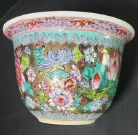 Chinese Porcelain Planter No Mark Gold Pink Turquoise Hand Painted Flowers 1900s