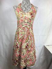Ann Taylor Dress Women Sz 4 Pink beige Halter Sleeveless Floral V Neck cotton 89