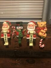 Vintage Lot Of 4 Christmas Stocking Holders Hard Plastic Santa Snowman & Bear