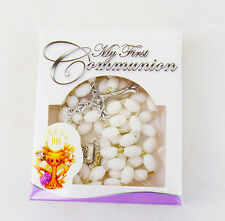 First Holy Communion 1st Confirmation White Rosary Beads Necklace Gift Boy Girl